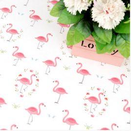 Flamingo Desenli Doğal Pamuk Kumaş