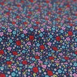 Lacivert Vintage Çiçekli Doğal Pamuk Kumaş