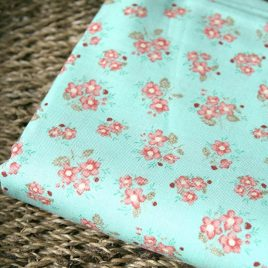 Mint Minik Çiçekli Doğal Pamuk Kumaş