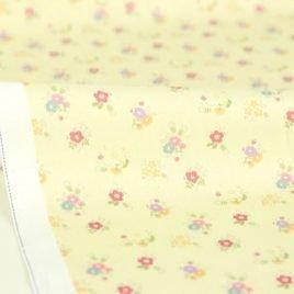Pastela Sarı Çiçekli Doğal Pamuk Kumaş
