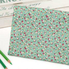Yeşil Minik Çiçekli Doğal Pamuk Kumaş
